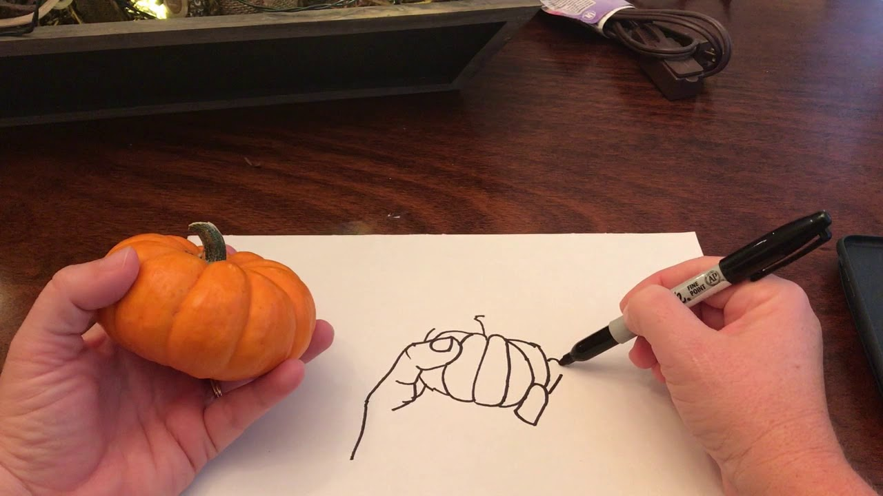 Contour Line Drawing Rose : Contour line drawing of a hand holding pumpkin youtube