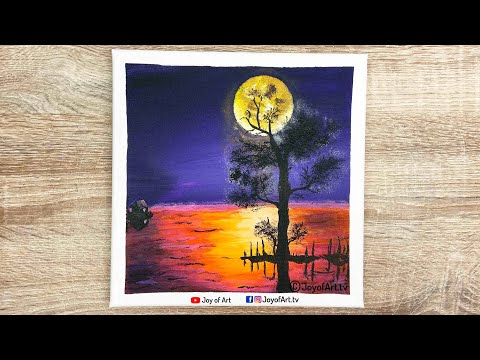 My Little House | Sunset Landscape Acrylic Painting for Beginners | Joy of Art #260