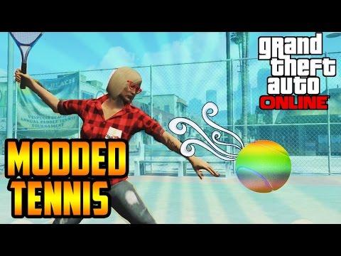 MODDED TENNIS ON GTA 5?! (GTA 5 ONLINE: FUNNY MOMENTS)