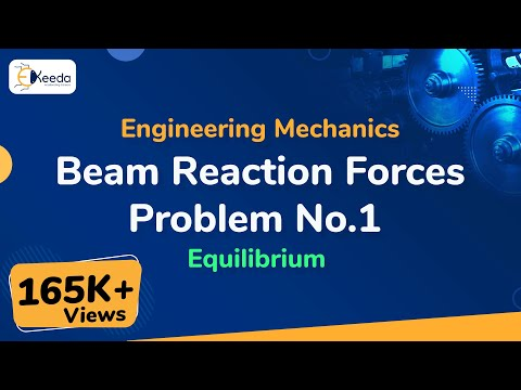 Beam-Reactions - Problem 1 - Equilibrium - Engineering Mechanics - First Year Engineering