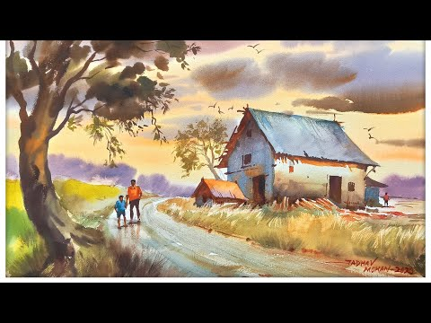 simple watercolor landscape painting tutorial -old countryside house