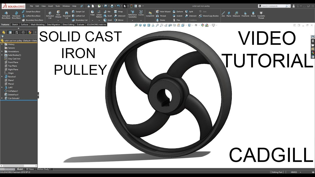 Solid Cast Iron Pulley SolidWorks Video Tutorial
