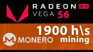 AMD Radeon RX Vega 56 майнинг Monero XMR 1900 H\s, xmr-stak-amd, gatelessgate