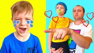 Андрей с малышом хотят играть, но папа мешает| Видео для детей