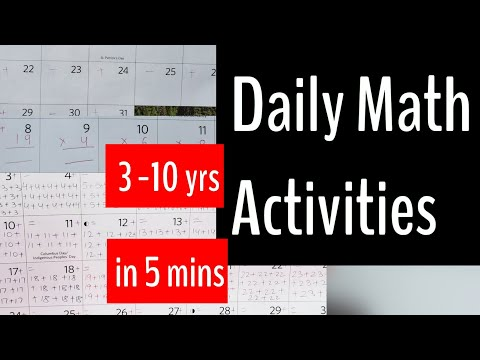 12 DAILY MATH ACTIVITIES -3 to10yrs( 5mins)