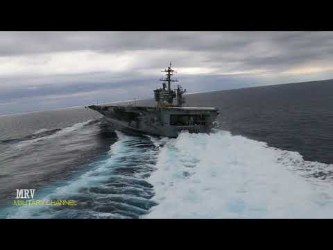 Amazing Man's: Amazing The largest US aircraft carrier is doing full speed test