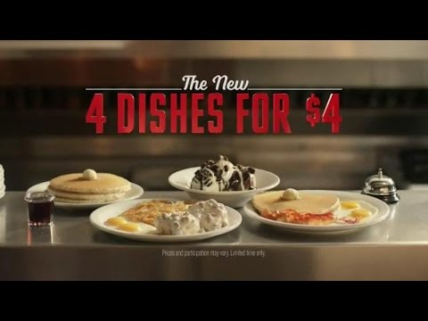 TV Commercial - Denny's Everyday Value Slam - 4 Dishes For $4 - America's Diner Is Always Open