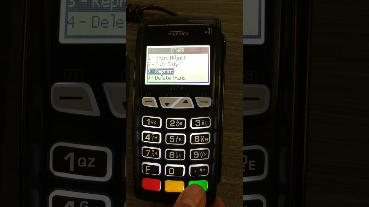 How to Reprint a Receipt on an Ingenico ICT 220