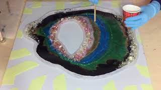 56. Free Form Resin Geode. Part 2. Second Layer and Garden