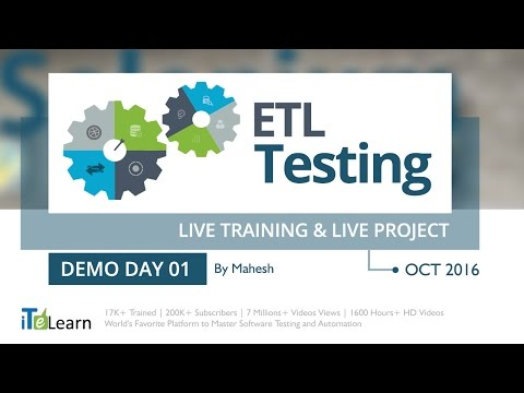 #ETLTesting Live Training &  Live Project Demo Day 01 for Beginners