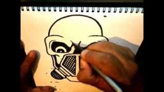 How to Draw Skull with a Gas Mask by Wizard