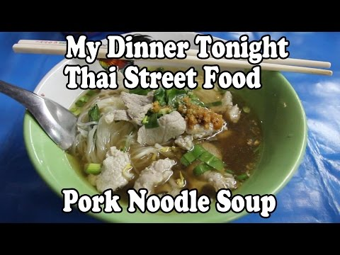 Thai Street Food: My Dinner Tonight. Pork Noodle Soup. Eating Thai Boat Noodle Soup in Thailand