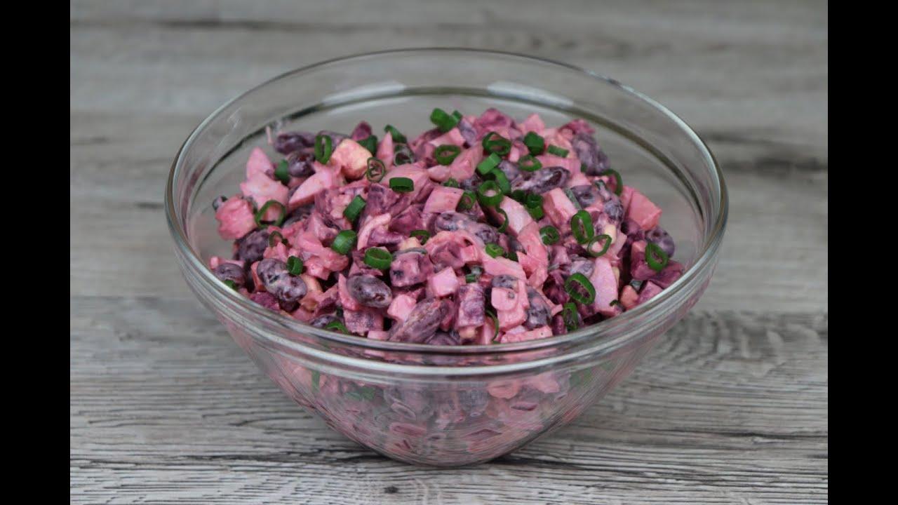 Салат с крабовыми палочками, свёклой и фасолью