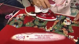 Faça um pano de prato com barrado especial de Natal