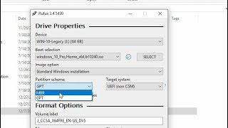 Bootable USB Flash Drive using Rufus (MBR/GPT, Legacy/UEFI)