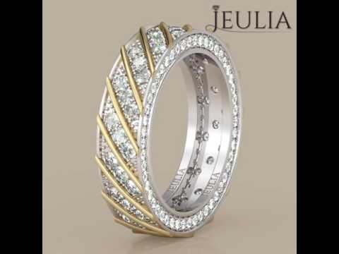 Jeulia Two Tone Diagonal Round Cut White Sapphire Womens Wedding