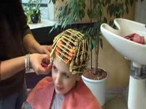 Perming women's hair