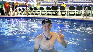 Swimming in the pool at Marlins Park