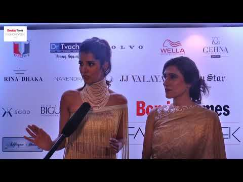 Rina Dhaka with her showstopper at Bombay Times Fashion Week 2017