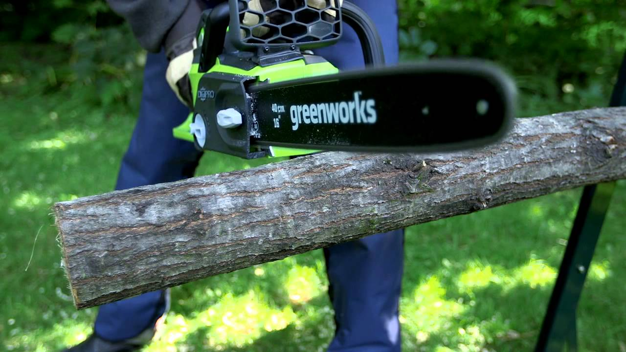 Scie a chaine a batterie greenworks