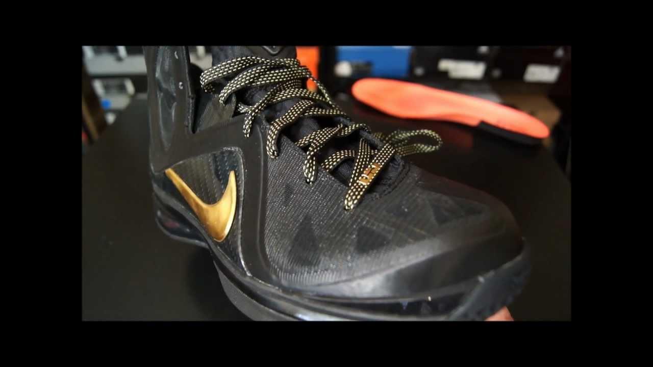 online retailer 6ead7 00cb8 Nike LeBron 9 P.S. Elite  Away  Black  Gold - YouTube