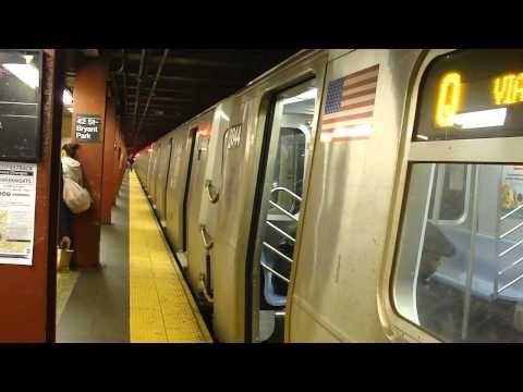 FASTRACK IND 6th Ave Line: R160B Siemens Q Train at 42nd St-Bryant Park (Late Nights)