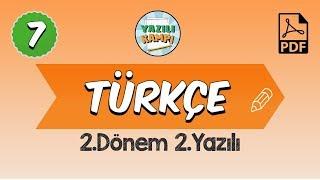 7Sınıf Türkçe  2Dönem 2Yazılı Provası