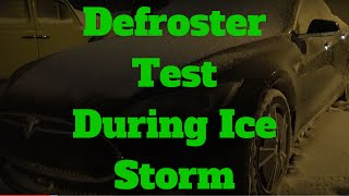 Tesla Model S: Defroster Test during Ice Storm on the Ice-T