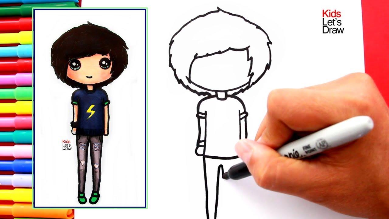 Cómo dibujar y pintar un CHICO TUMBLR fácil | How to Draw a Cute Tumblr Boy  - YouTube