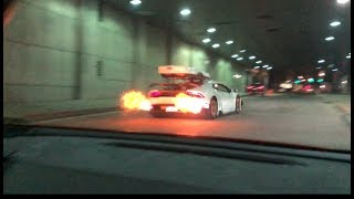 Twin turbo Huracan shootsflames, supra vs huracan