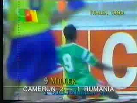 Roger Milla   gol  Cameroon  vs  Romania 1990 FIFA World Cup Italy