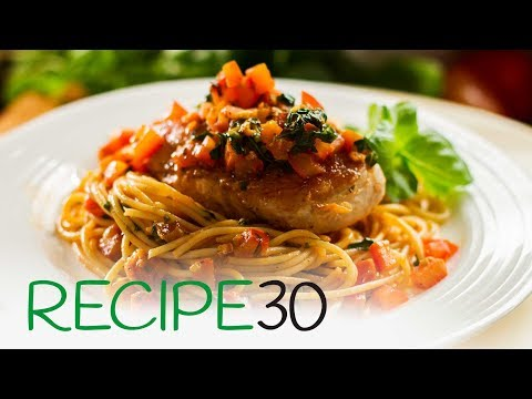 Garlic Basil Chicken Breasts With Spaghetti