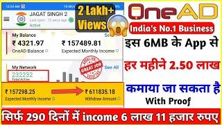 OneAD इस App से मैंने कमाए 6 लाख 11 हजार रुपये सिर्फ 290 दिन में  A to Z Explain,