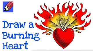 How to draw a heart on fire real easy for kids and beginners