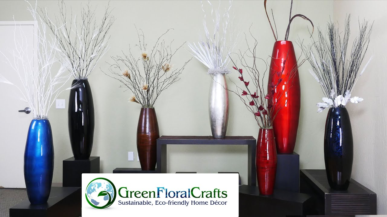 DIY Bamboo Vases Branch Arrangements In Tall Floor Vases