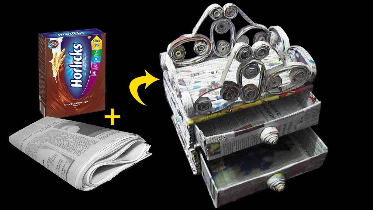 How to make a stationery desk organizer using newspaper for Best out of waste using newspaper