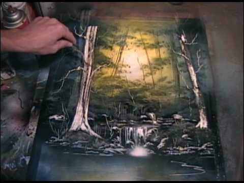 forest light spray paint art youtube. Black Bedroom Furniture Sets. Home Design Ideas
