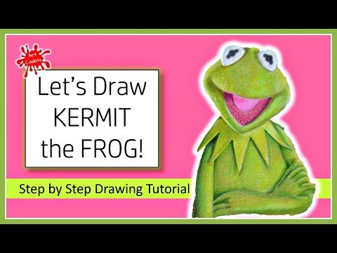How to draw 3D KERMIT the FROG (The Muppets) - A Step by Step TUTORIAL