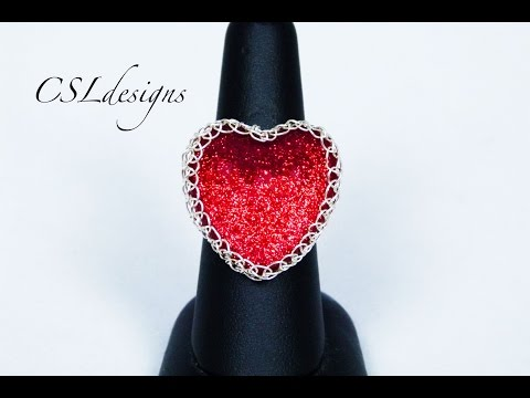 Heart shaped wire wrapped cabochon ring | Valentine's Day