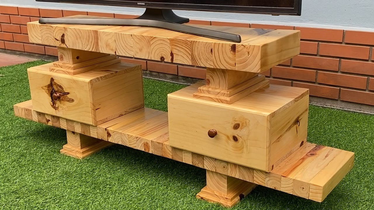 Easy And Unique Ideas For Your Next Project // Make A TV Stand By Recycling Waste Wood
