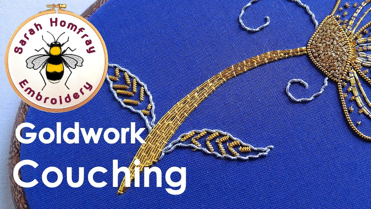 Hand embroidery goldwork tutorial part couching