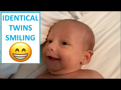 One Month Old Twins Smiling