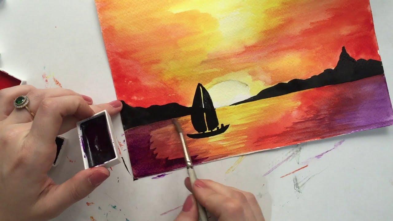 Suluboya Teknigi Ile Gun Batimi Sunset With Watercolor Youtube