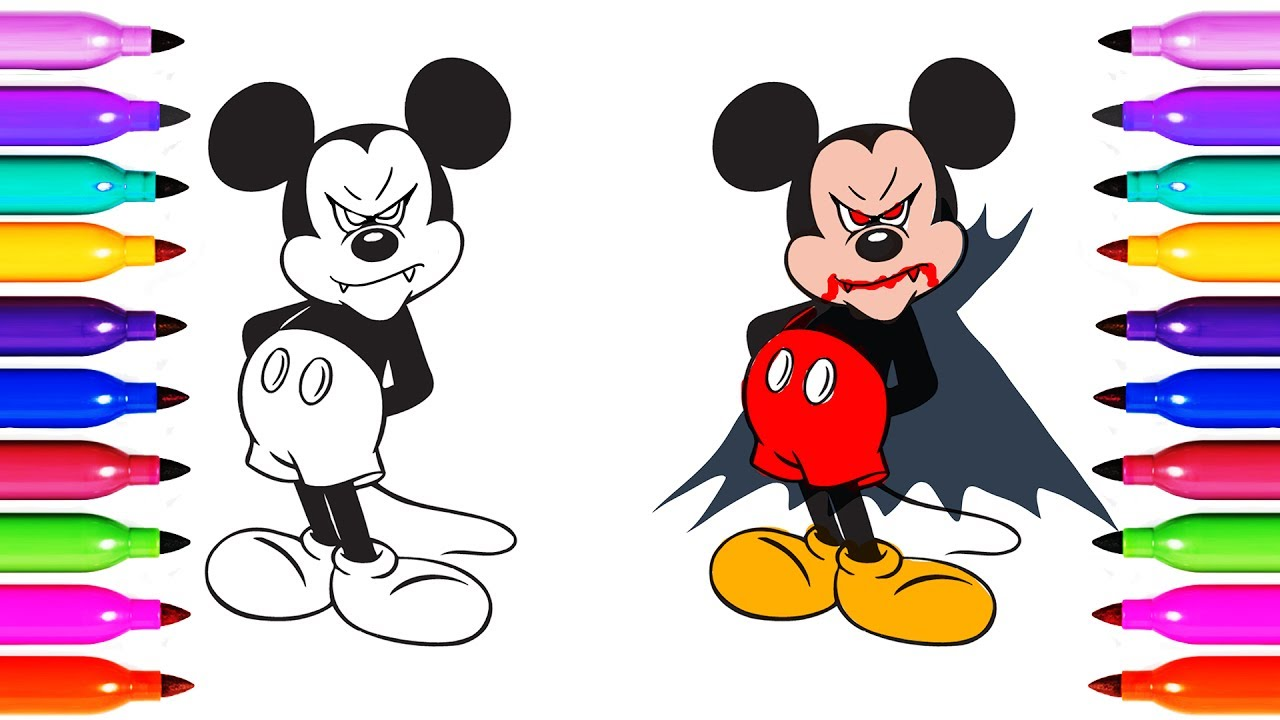 Dracula Muckey Mouse Draw Coloring Pages For Kid Youtube