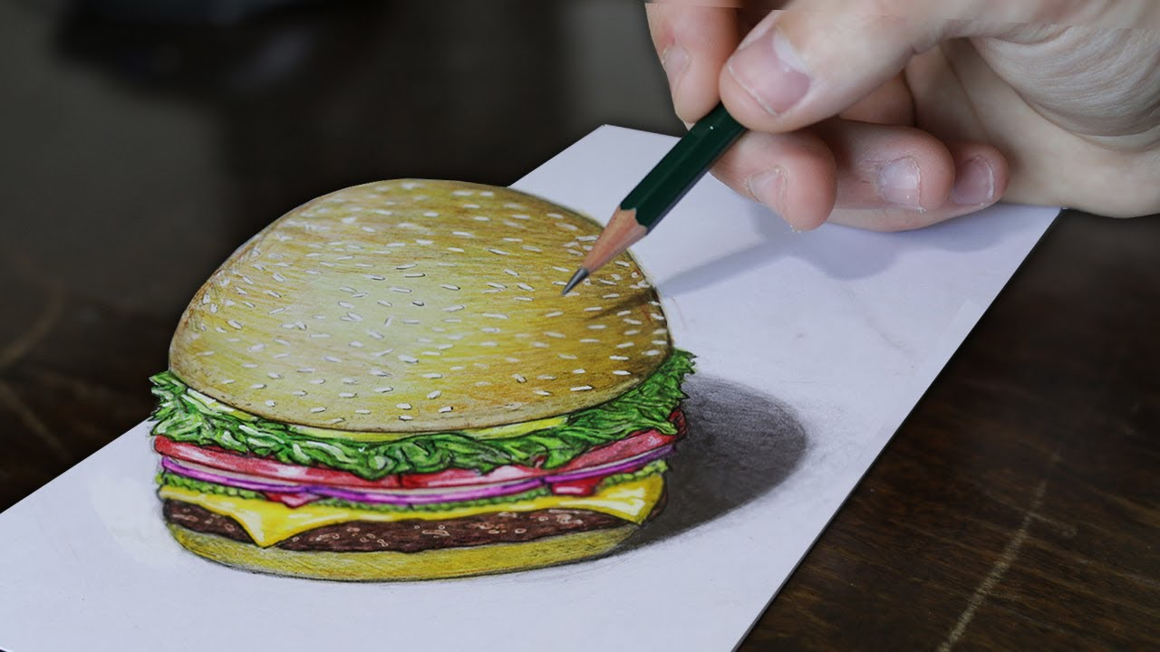 3d drawing burger 3d illusion trick art on paper