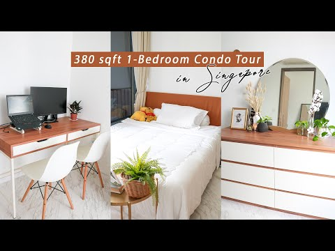 Small 380sqft 1 Bedroom Boho Minimalist Condo | Singapore Apartment Tour