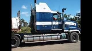 V8 Mack Pulling 2 Trailers With Unusual Camera Angles With Great Sound