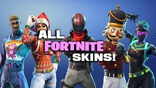 ALL SKINS IN FORTNITE BATTLE ROYALE! (Name, Rarity and Cost)