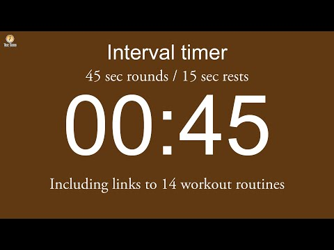 Interval timer - 45 sec rounds / 15 sec rests / Flexible length (Beep/Beep version)
