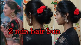 2 min hair bun with rose for wedding &party|deepika padukone inspired hairstyle|Ramleela|Asvi